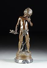 AFTER AUGUSTE MOREAU (French 1834-1917) 20TH CENTURY, A PATINATED BRONZE FIGURE OF A BOY HOLDING BIRDS,