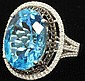 BLUE TOPAZ AND DIAMOND RINGset in 14KT estimate 2000-3000