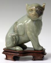 CHINESE CARVED JADE FIGURE OF CAT