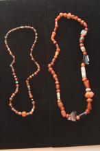 LOT OF (2) EARLY AGATE AND CARNELIAN NECKLACES