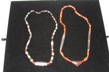 LOT OF (2) EARLY AGATE AND CARNELAIN NECKLACES