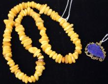 LOT OF (2) JEWELRY- AMBER NECKLACE, LAPIS PENDANT