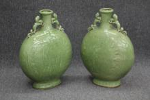 PAIR OF CHINESE CELADON POTTERY VASES W/DRAGONS