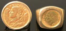 LOT OF (2) MEXICAN & SWISS FRANC COIN RINGS, 14KT