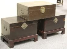 LOT OF (3) ASIAN PIGSKIN STORAGE BOXES