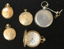 LOT OF (5)- VINTAGE POCKET WATCHES, CASES, CAMEO