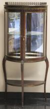 EARLY 20TH CENTURY FRENCH CURVED GLASS VITRINE
