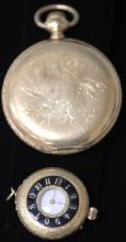 LOT OF (2) VINTAGE POCKET WATCHES, ONE 18KT