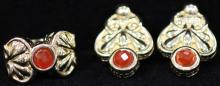 LADY'S ITALIAN 14KT CARNELIAN RING AND EARRING SET