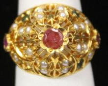 RUBY & PEARL 22KT RING