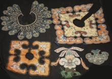 LOT OF (4) QING DYNASTY EMBROIDERED COLLARS