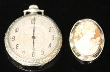 LOT OF (2) VINTAGE JEWELRY- WALTHAM WATCH & CAMEO
