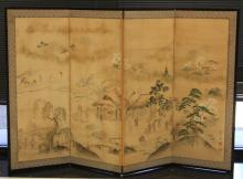 19TH CENTURY CHINESE PAINTED SCREEN
