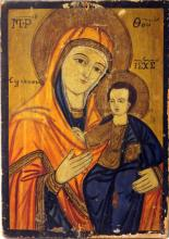 GREEK 19TH CENTURY ICON, MADONNA AND CHILD