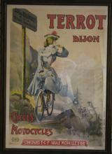 VINTAGE FRENCH FRAMED POSTER, CYCLES MOTOCYCLES