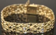 LADY'S 14KT GOLD NUGGET STYLE BRACELET