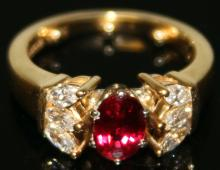 VINTAGE RUBY AND DIAMOND 18KT RING