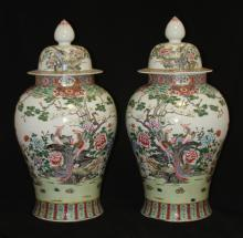PAIR OF CHINESE PORCELAIN COVERED URNS