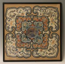 QING DYNASTY SILK EMBROIDERED COLLAR, FRAMED