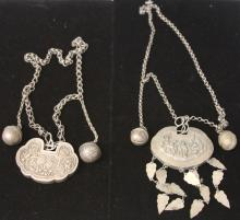 LOT OF (2) VINTAGE CHINESE SILVER COURT NECKLACES