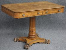 ENGLISH REGENCY WALNUT DOUBLE DRAWER LIBRARY TABLE