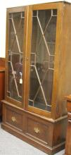 VICTORIAN DOUBLE DOOR BOOKCASE WITH DRAWER