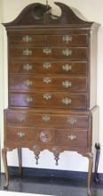 19TH CENTURY AMERICAN BONNET CHEST ON CHEST