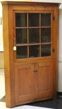 EARLY AMERICAN CORNER CUPBOARD, CA. 1840