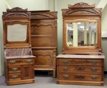 VICTORIAN WALNUT MARBLE TOP BEDROOM SET