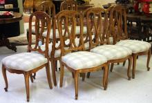 SET OF (11) FRENCH PROVINCIAL WALNUT DINING CHAIRS