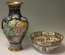 LOT OF (2) ASIAN DECORATIVE- CLOISSONE VASE & BOWL