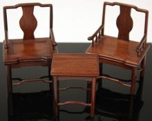 SET OF (3) CHINESE CARVED MINIATURE FURNITURE