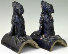 PAIR OF CHINESE BLUE GLAZED POTTERY ROOF TILES