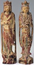 PAIR OF CHINESE CARVED/PAINTED WOOD FIGURES