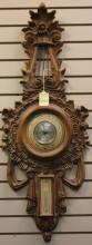 FRENCH CARVED WOOD WALL BAROMETER