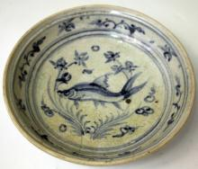 VIETNAMESE B&W BOWL WITH FISH DESIGN