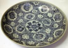 CHINESE B&W BOWL WITH FLORAL DESIGNS