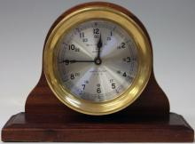 VINTAGE SHIP'S BELL CLOCK WITH WOOD BASE
