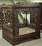 CHINESE ROSEWOOD CARVED CANOPY             BED             estimate 3000-5000