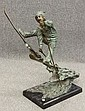 MODERN BRONZE SCULPTURE             of Boy Skiing             signed- Jim Davidson             on marble base             total height- 34