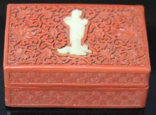 EARLY CHINESE CINNIBAR CARVED BOX