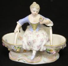 MEISSEN PORCELAIN FIGURE OF GIRL, 19TH CENTURY