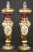 PAIR OF EARLY PAINTED CRANBERRY GLASS COMPOTES