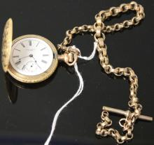 VINTAGE GOLD PLATED POCKET WATCH WITH CHAIN