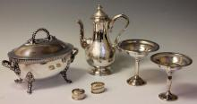 LOT OF (6) PCS. STERLING AND PLATED SILVER ITEMS