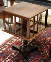 ROSEWOOD REVOLVING BOOKCASE, 19TH CENTURY