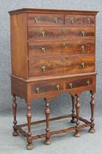WILLIAM AND MARY WALNUT CHEST ON CHEST