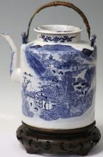 EARLY CHINESE BLUE AND WHITE PORCELAIN TEAPOT