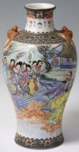 CHINESE PAINTED PORCELAIN VASE WITH BATS