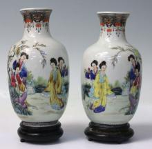PAIR OF CHINESE PORCELAIN PAINTED VASES